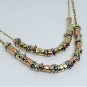 Hammered Metal Bead Glam Style Layered Necklace